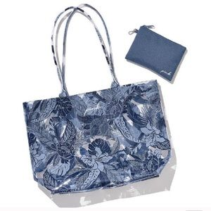 PINK • Blue Floral Clear Beach Tote